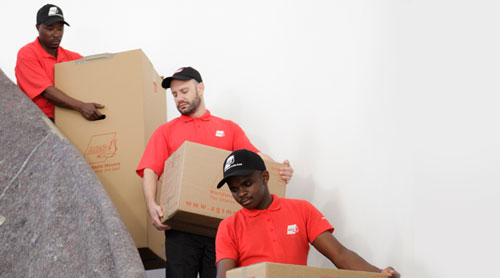 Movers going down stairs with boxes